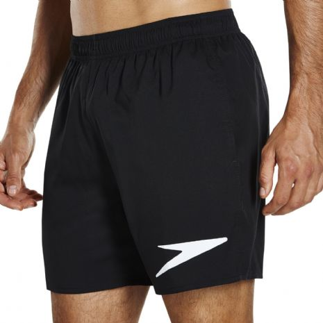 "SPEEDO MENS WATER SHORTS.SPORT SOLID 16"" LINED BLACK SWIMMING TRUNKS/SWIMMER 194"